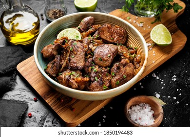 Fried chicken liver with onions and herbs.