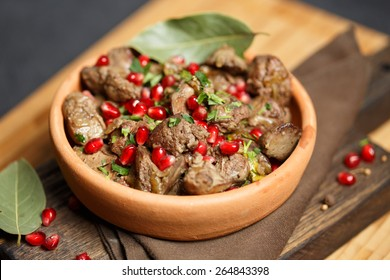 Fried Chicken Liver  with onions and pomegranate
