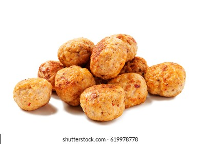 Fried chicken meatballs on white background