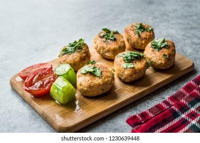 Fried Chicken Meatballs on Wooden Board / Kofta or Kofte