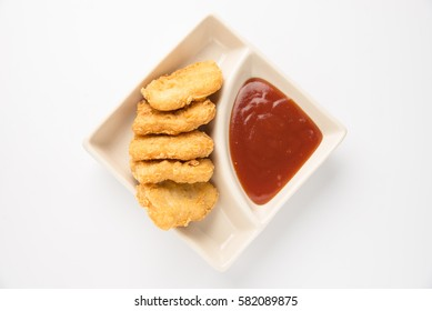 Fried chicken nuggets  on white background