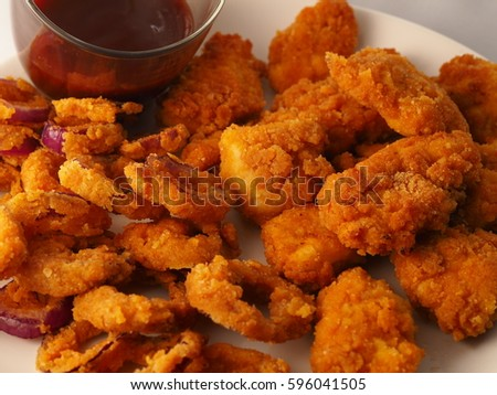 Fried Chicken Nuggets Onion Rings American Stock Photo Edit Now