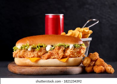 Fried chicken sandwich with lettuce and mayo