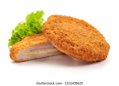 Fried Chicken schnitzel cordon bleu with cheese in breadcrumbs, restaurant food, isolated on white background.