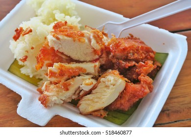 fried chicken with sticky rice.