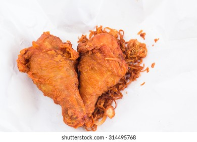 """Fried chicken as Thai style (Thai menu call name """"Hat Yai fried chicken"""" on plastic wrap."""