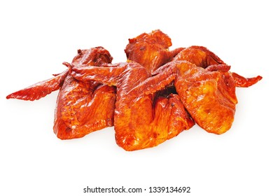 Fried chicken wings against white background