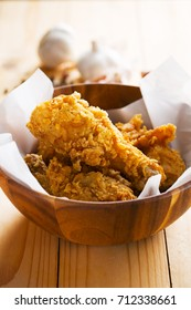 fried chicken in wooden bowl for meal