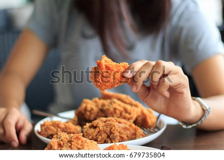 Fried Chicken Young Woman Hand Select Stock Photo Edit Now