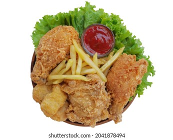 Fried chickens and chicken nuggets and some frenchfried with bowl of ketchup and lettuce on a white background