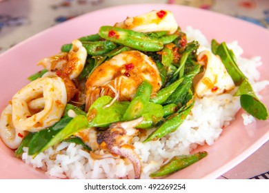 Fried chilly paste with shrimp and  calamari cooked rice