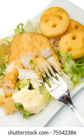 Fried cod fillets with chips