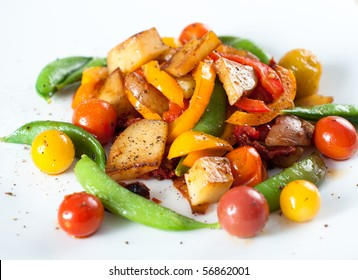 Fried Colorful Vegetables on White Plate