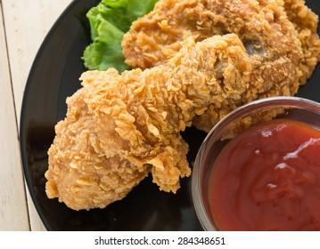 fried crispy chicken on wood