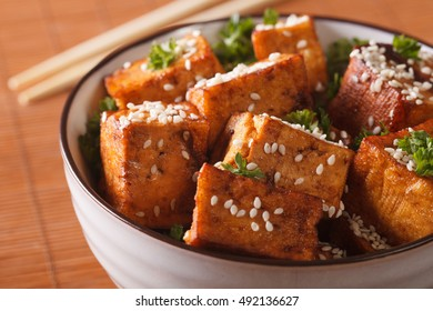 fried crispy tofu with sesame in soy sauce in a bowl close-up. horizontal