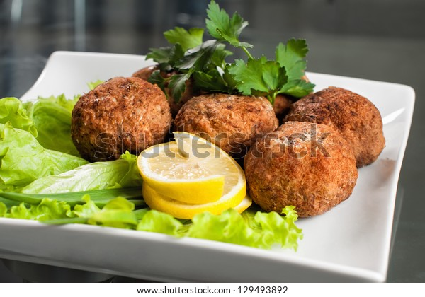 Fried cutlets in the plate