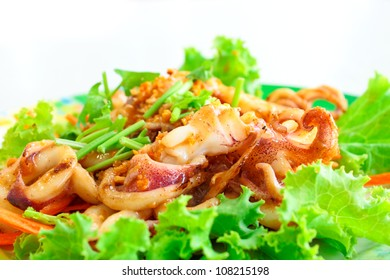 Fried cuttlefish with tamarind sauce and salad