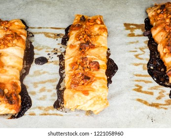Fried danish pastry with nuts at closup on low angle