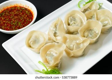 Fried dumplings with sauce in Korean style