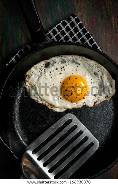 Fried Egg in Cast Iron with Spatula