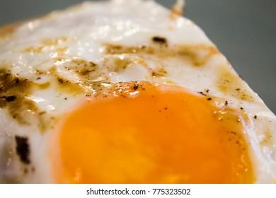 Fried egg close up photo