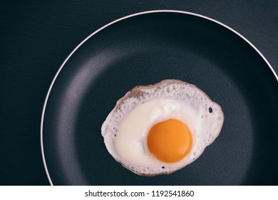 Fried egg in a frying pan. Close up.
