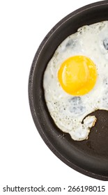Fried egg in a frying pan over white background