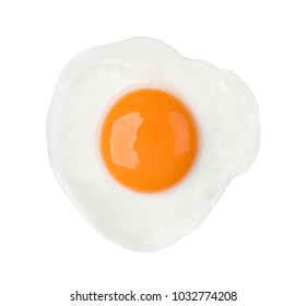 Fried egg isolated on white background on top view food object design