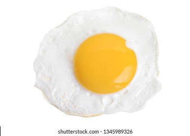 Fried egg isolated on white background. Top view