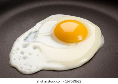 Fried egg on frying pan