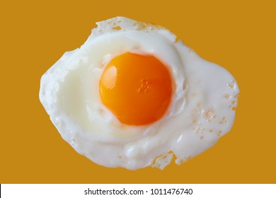 Fried egg on yellow background, close up