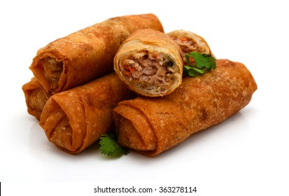 Fried Egg rolls or Spring rolls isolated on a white background