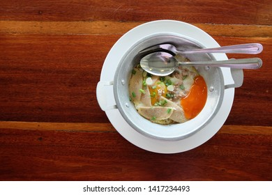 Fried egg served on pan Breakfast in the northeast is a food derived from French food. Popular to eat both Thai and Vietnamese