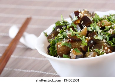 Fried eggplant with coriander and sesame seeds