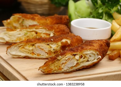 Fried Eggrolls with French Fries