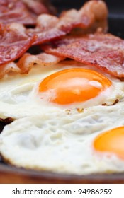 Fried eggs with bacon in a pan