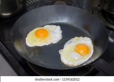 fried eggs in a frying pan