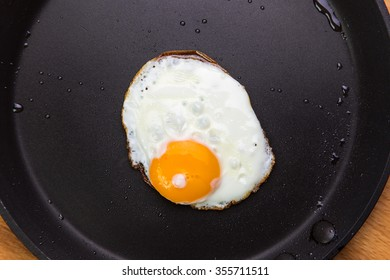 Fried eggs in a frying pan, view from above