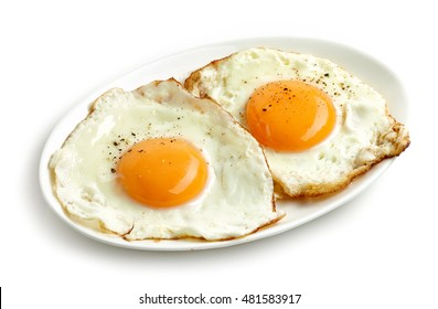 fried eggs isolated on white background