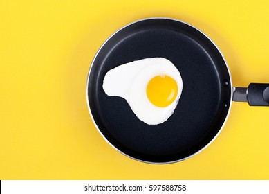 fried eggs in a pan of eggs on a yellow background