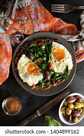 Fried Eggs with Sauteed Garlic Spinach and Low Carb Pancake