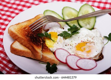 fried eggs and toast - excellent breakfast