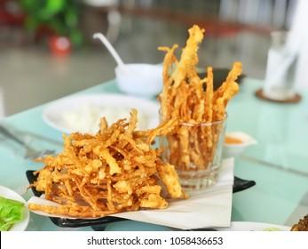 fried enokitake mushroom with sauce