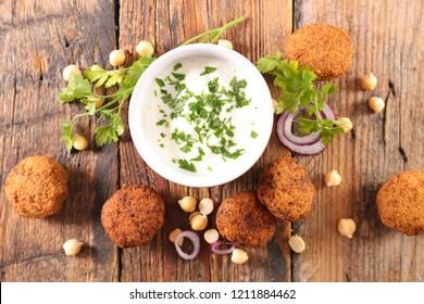 fried falafel and dip