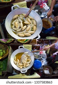 Fried fish ball, in chinese pan,Sold in floating boats in the canal at Khlong Lad Mayom Market, Bang Ramat Subdistrict, Taling Chan District, Bangkok, Thailand.