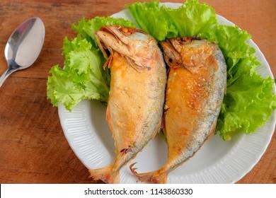 fried mackerel fish and breakfast