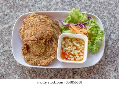 Fried Fish Cake on marble table
