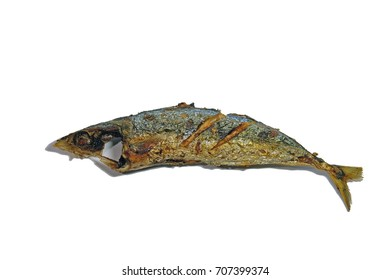 Fried fish isolated on white background , with clipping path