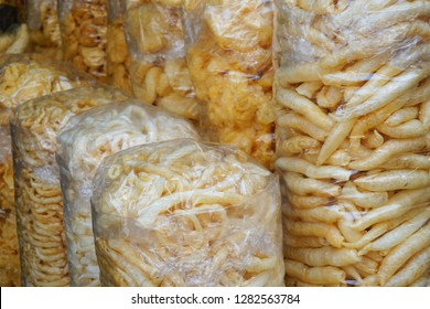 Fried fish maw or dried fish maw was sale in China town.