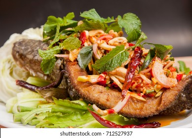 Fried fish with mixed herb from Thailand - Food for health